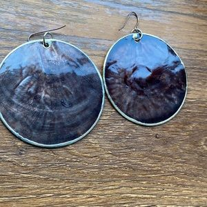 Brown and Gold Earring Set